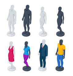 Isometric adjustable male and female mannequin vector