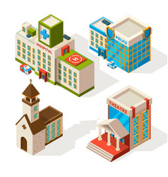 isometric pictures municipal buildings vector image