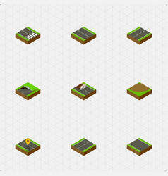 Isometric way set of without strip subway vector