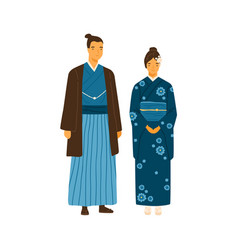 japanese couple wearing traditional costumes man vector image