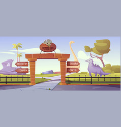 jurassic park gates with pointers to dinosaur area vector image