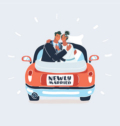 just married couple in car on white background vector image