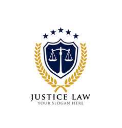 Justice law badge logo design template vector