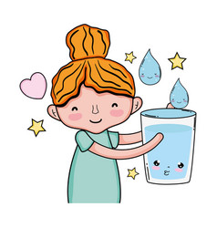 Little girl with glass water kawaii character vector