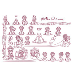 little princess set vector image