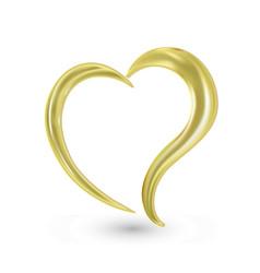 love heart gold logo vector image
