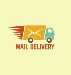 Mail delivery vintage logo vector