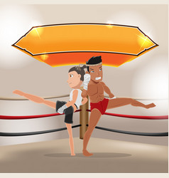 Man woman thai boxing stage vector