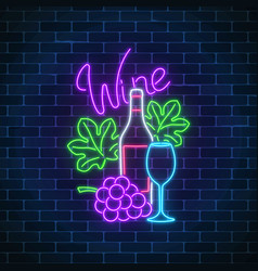 neon glowing sign of wine store in circle frame vector image