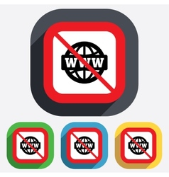 No internet WWW sign icon World wide web vector