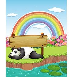 Panda and rainbow vector