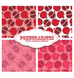 Pomegranate colored doodle seamless pattern vector image