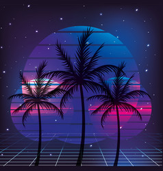 Retro 80s palms style with graphic background vector