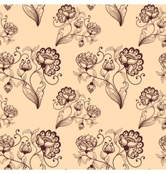 Retro seamless background with stylized flowers vector