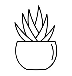 round pot aloe icon outline style vector image