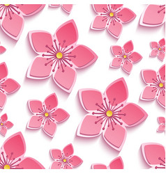 Seamless pattern with 3d cherry blossom vector