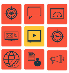 Set of 9 marketing icons includes focus group vector