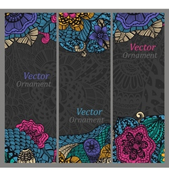 Set of cards with patterns vector