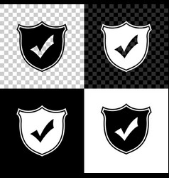 shield with check mark icon isolated on black vector image