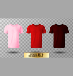 Shirt mock up set t-shirt template pink red and vector