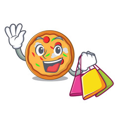 shopping pizza character cartoon style vector image