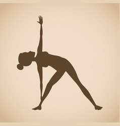 Silhouette woman pose yoga vector