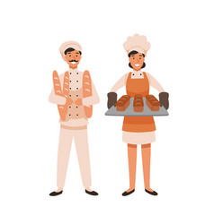 Smiling bakers flat vector