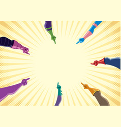 Superhero hands with pointing fingers vector