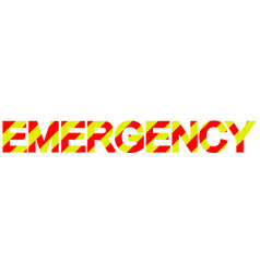 Text emergency diagonal stripes red and yellow vector