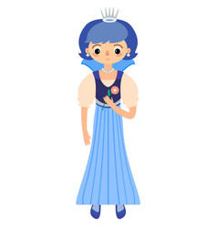 The fairytale princess in blue dress vector