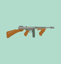 Thompson tommy submachine gun flat vector