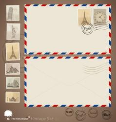 Vintage envelope designs and stamps vector image