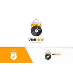vinyl and shop logo combination record and vector image