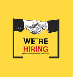 We are hiring yellow background color vector