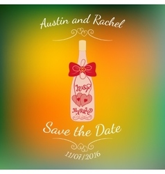 Wedding bottle of champagne with hearts over vector