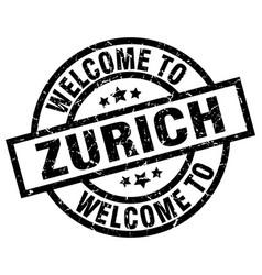 Welcome to zurich black stamp vector