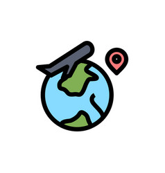 world location fly job flat color icon icon vector image