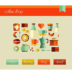 Coffee Shop web design template set vector image vector image
