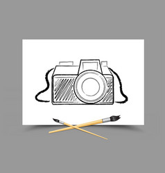 drawing camera on white paper vector image vector image