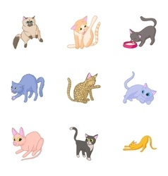 Furry friend icons set cartoon style vector