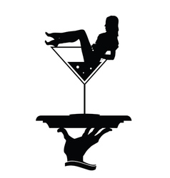 girl and martini in hand silhouette vector image vector image