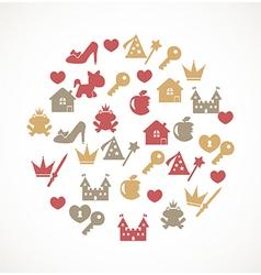 Princess icons vector