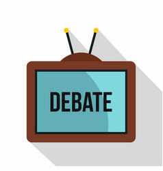 retro tv with debate word on the screen icon vector image