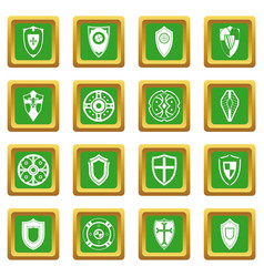 shields set icons set green vector image vector image