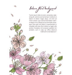Spring background with blooming sakura flowers vector