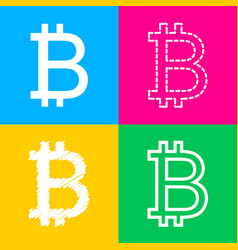 bitcoin sign four styles of icon on four color vector image