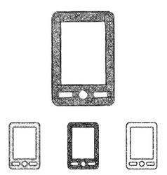 Cellphone icon set - sketch line art vector