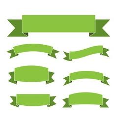 Green ribbon banners set vector