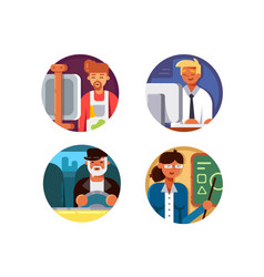 professions set icons vector image vector image
