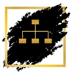 site map sign golden icon at black spot vector image vector image